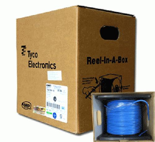 Cáp mạng  AMP - CAT 6 - Màu xanh , lỗi nhựa chống nhiễu 2 lớp, lổi chử thập