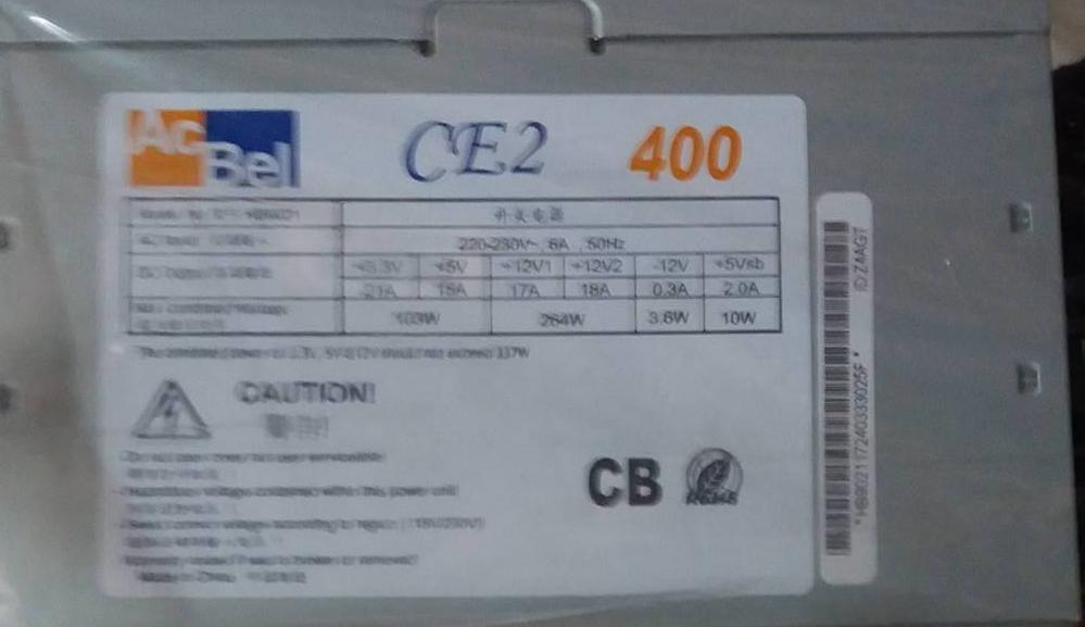 Nguồn 400W AcBel CE2 Fan 12cm, 1 x 12v (4+ 4 pin), 4 sata, 3 molex , PCI-e 6+2 Pin x1
