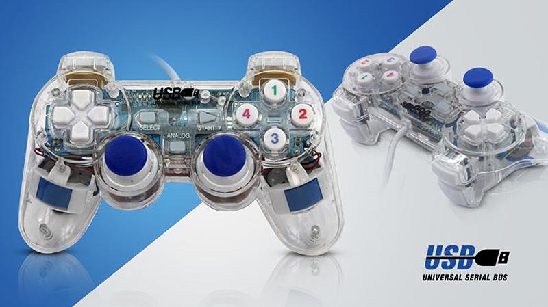 Tay game đôi rung trong suốt EW-702D (Trong suốt)