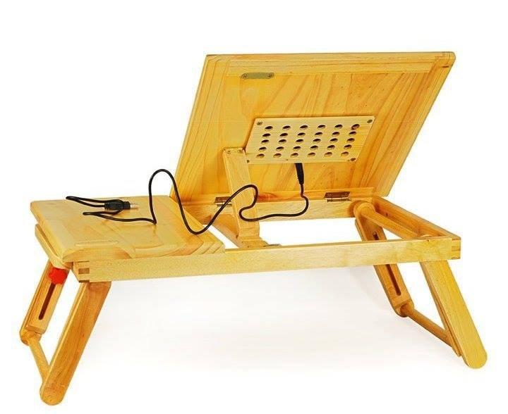 Bàn gỗ laptop đa năng Mlucky có quạt tản nhiệt Mlucky