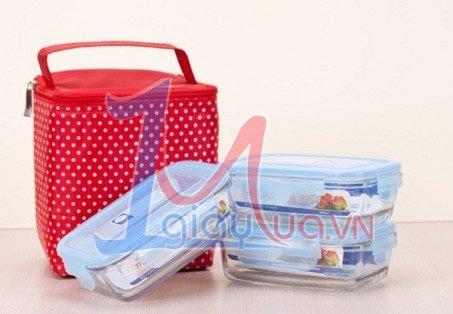 Bộ 3 hộp thủy tinh The Glass 400ml và tú